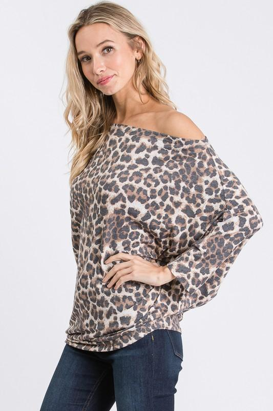Leopard Off the Shoulder Top