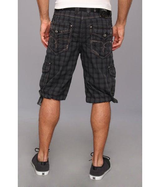 Plaid Rock Revival Cargo Shorts