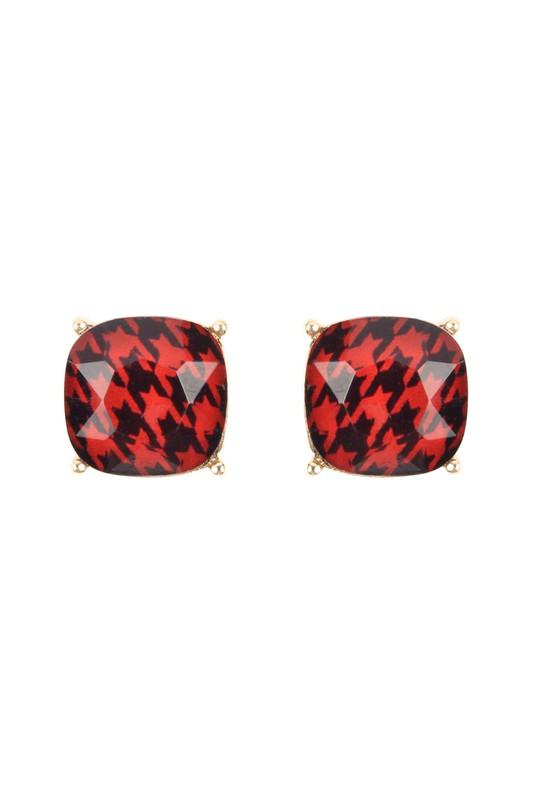 Red Houndstooth Studs