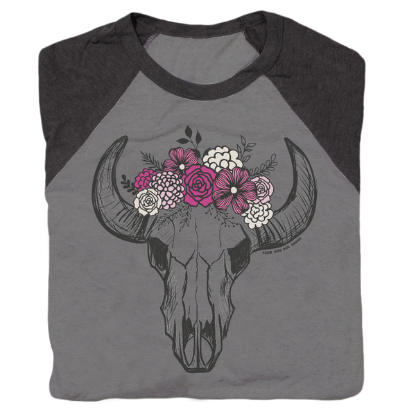 Floral Skull Boyfriend Raglan