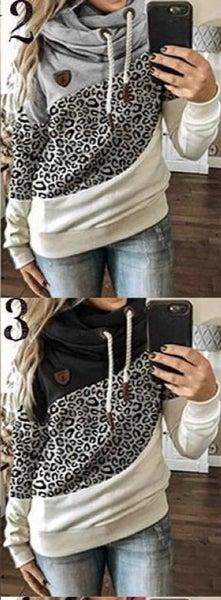 Leopard Color Block Hoodie