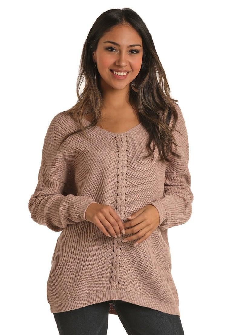 Blush Lace Up Sweater