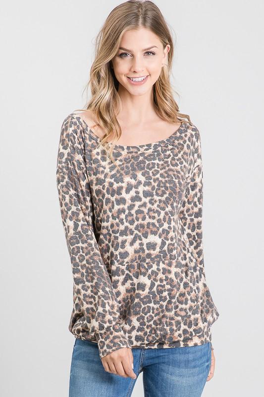 Off The Shoulder Leopard Longsleeve