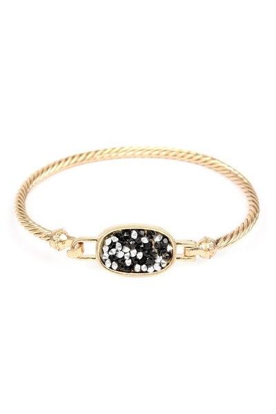 Rhinestone Oval Cuff Bracelet