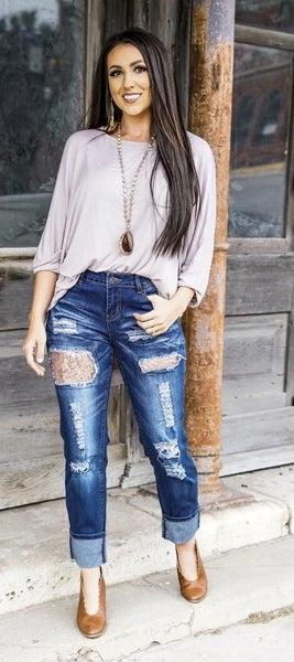 Sequin Boyfriend Jeans