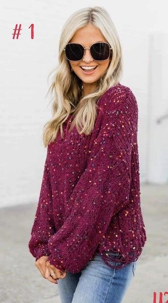 Wine Confetti Sweater