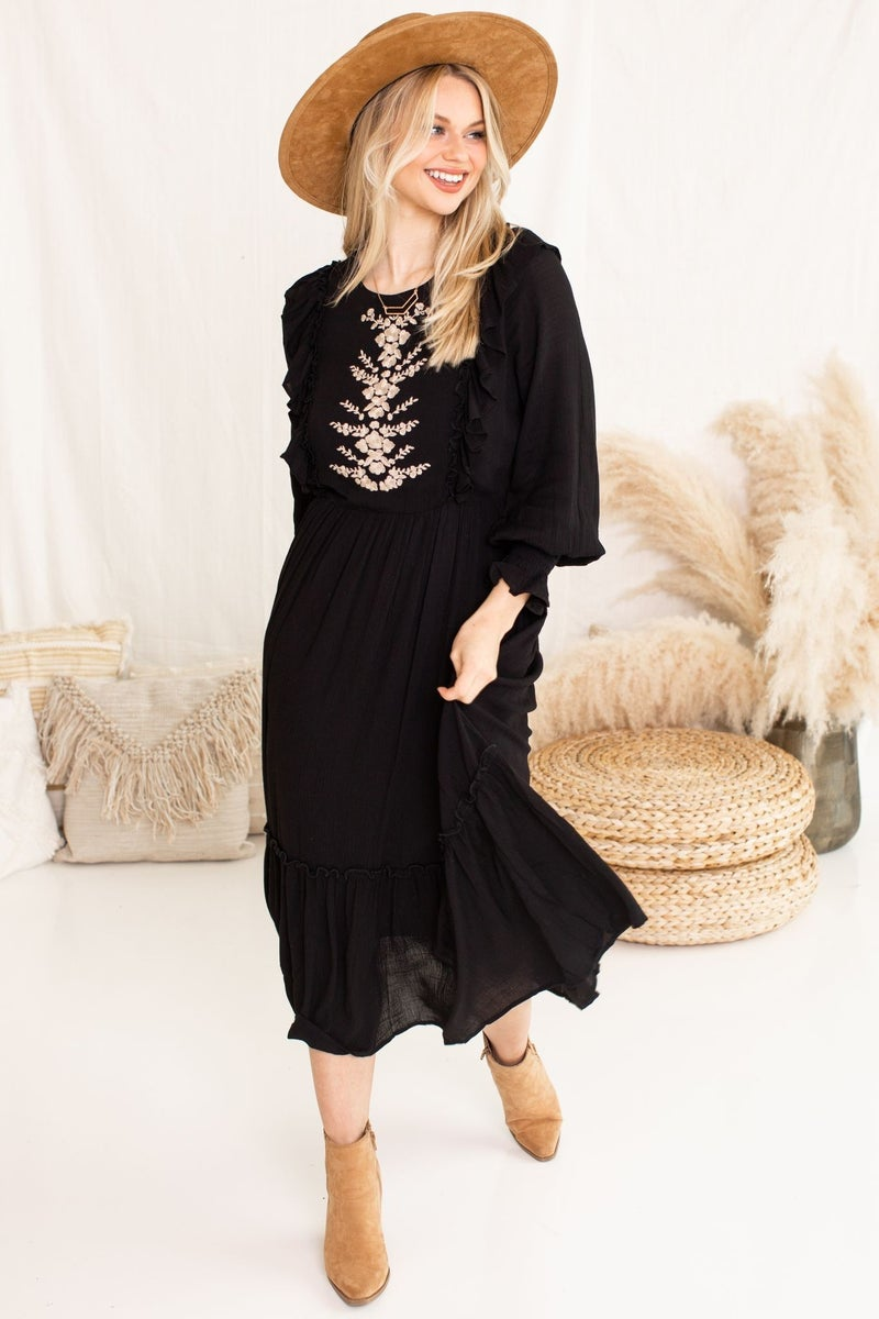 Embroidered Fields Dress