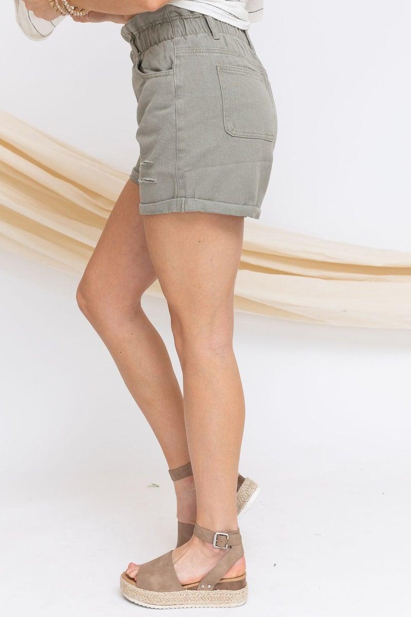 Taking it Back Denim Shorts in Olive