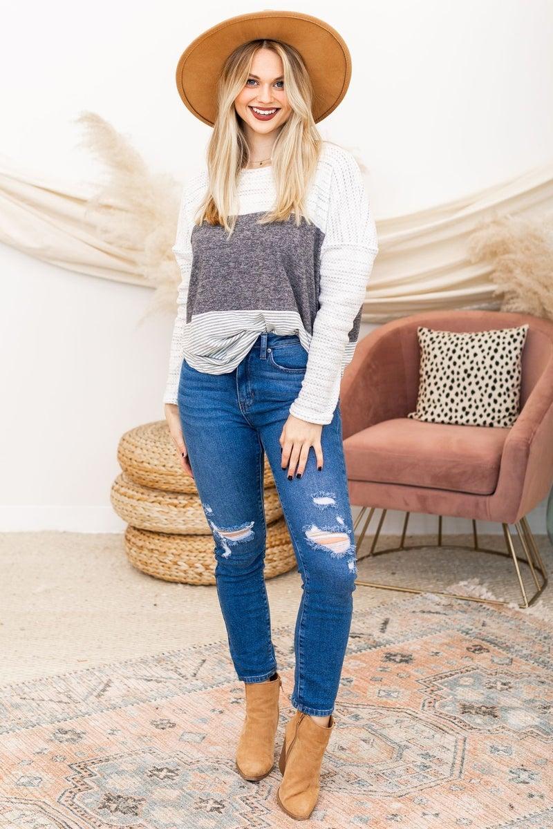 Stripe on Time Sweater