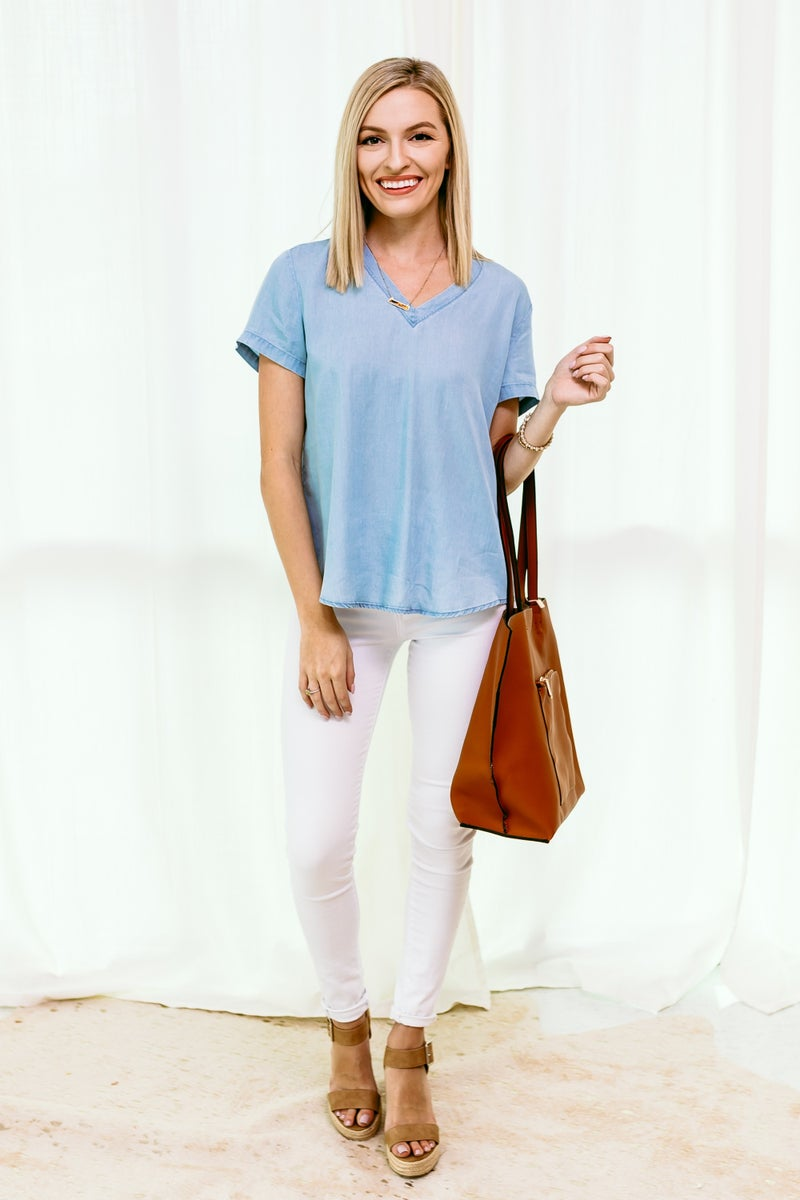 Forever Blue Tencel Top