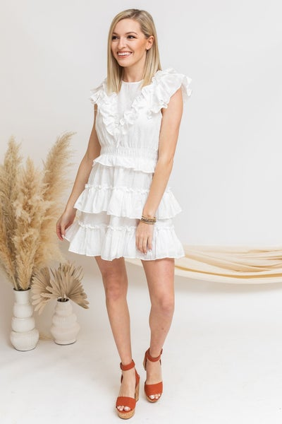 White to Ruffles Dress