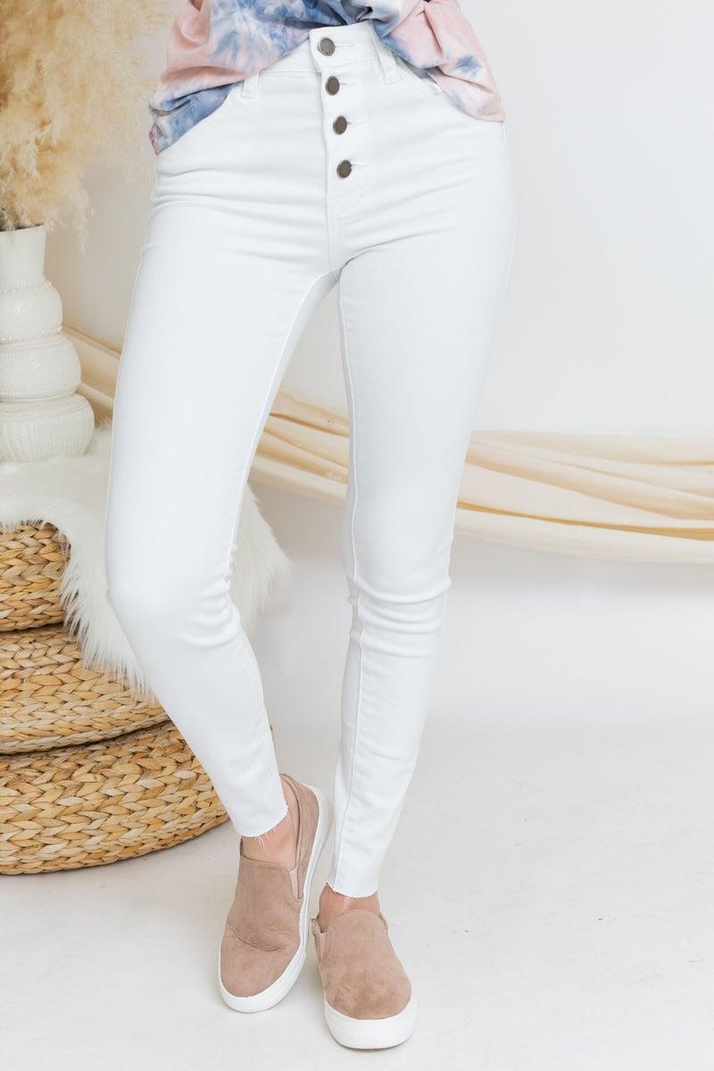 Button Me Up Skinnies in White