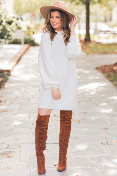 Lovely in White Sweater Dress