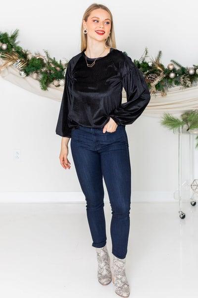 Blushing in Black Velvet Sweater