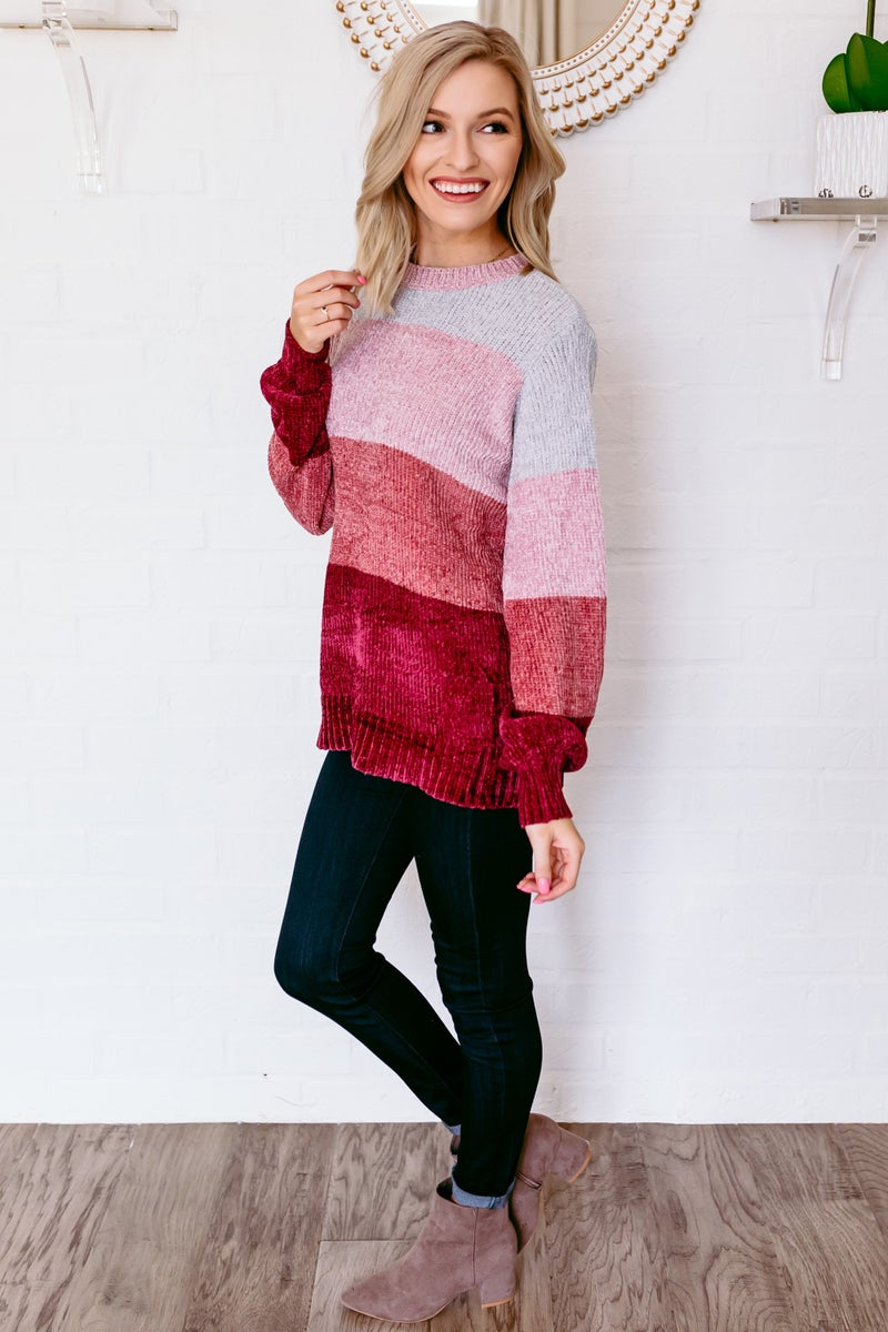 Mauving Over Stripes Sweater
