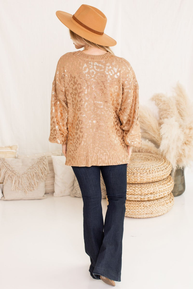 Dipped in Leopard and Shine Sweater
