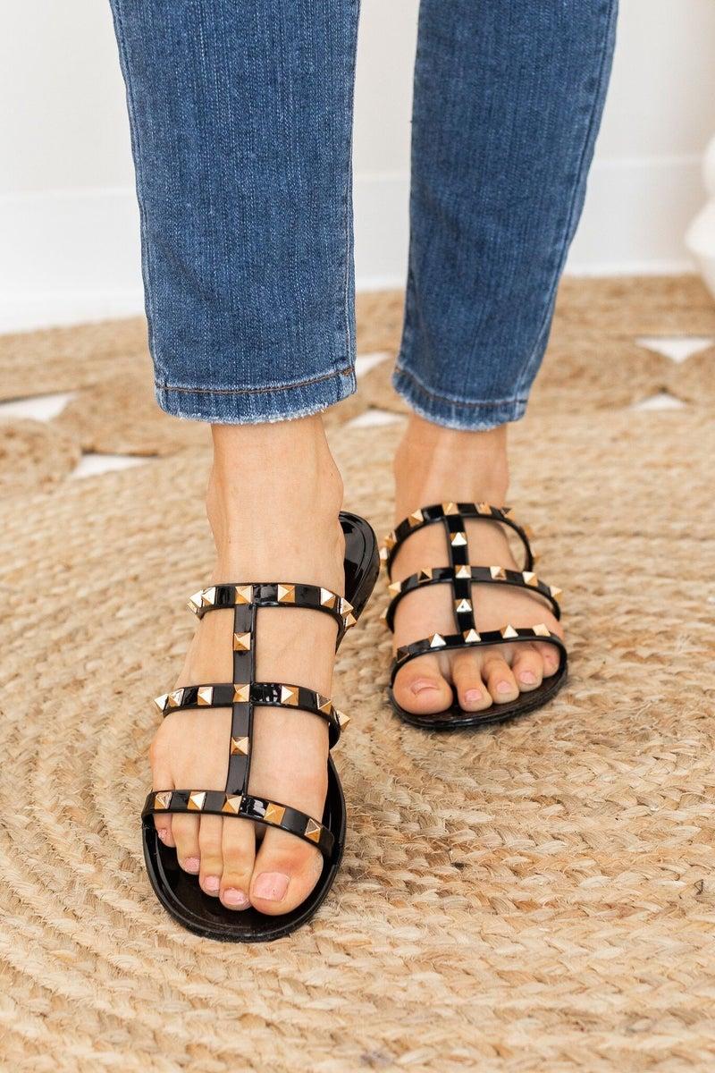 Slide into Fame Sandal in Black