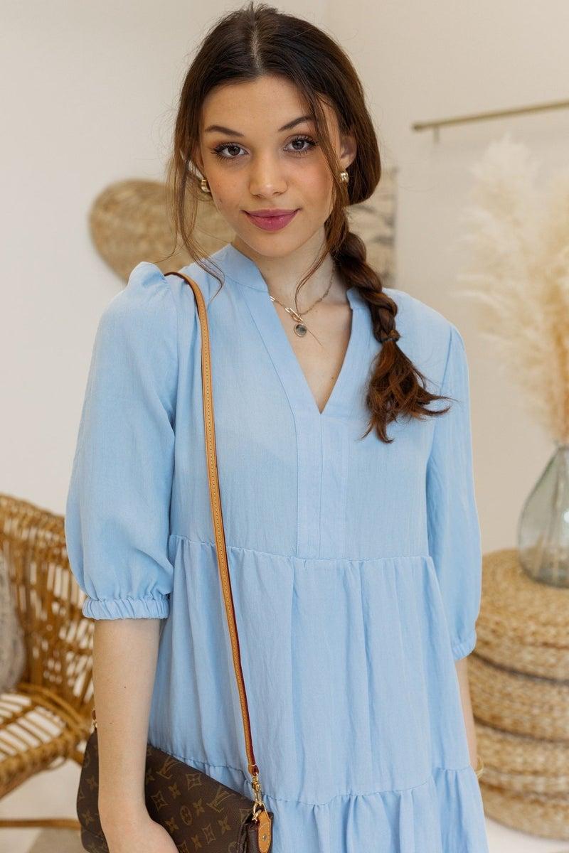 Iris Meadow Midi Dress in Blue