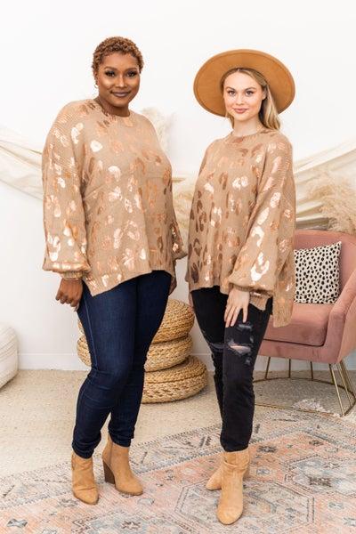 Add a Little Shine Sweater in Camel