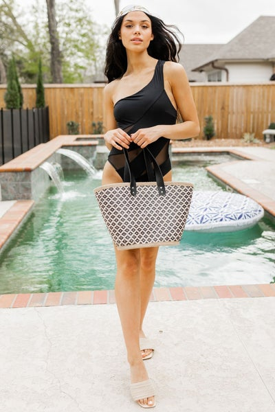 Black and Tan Beach Bag