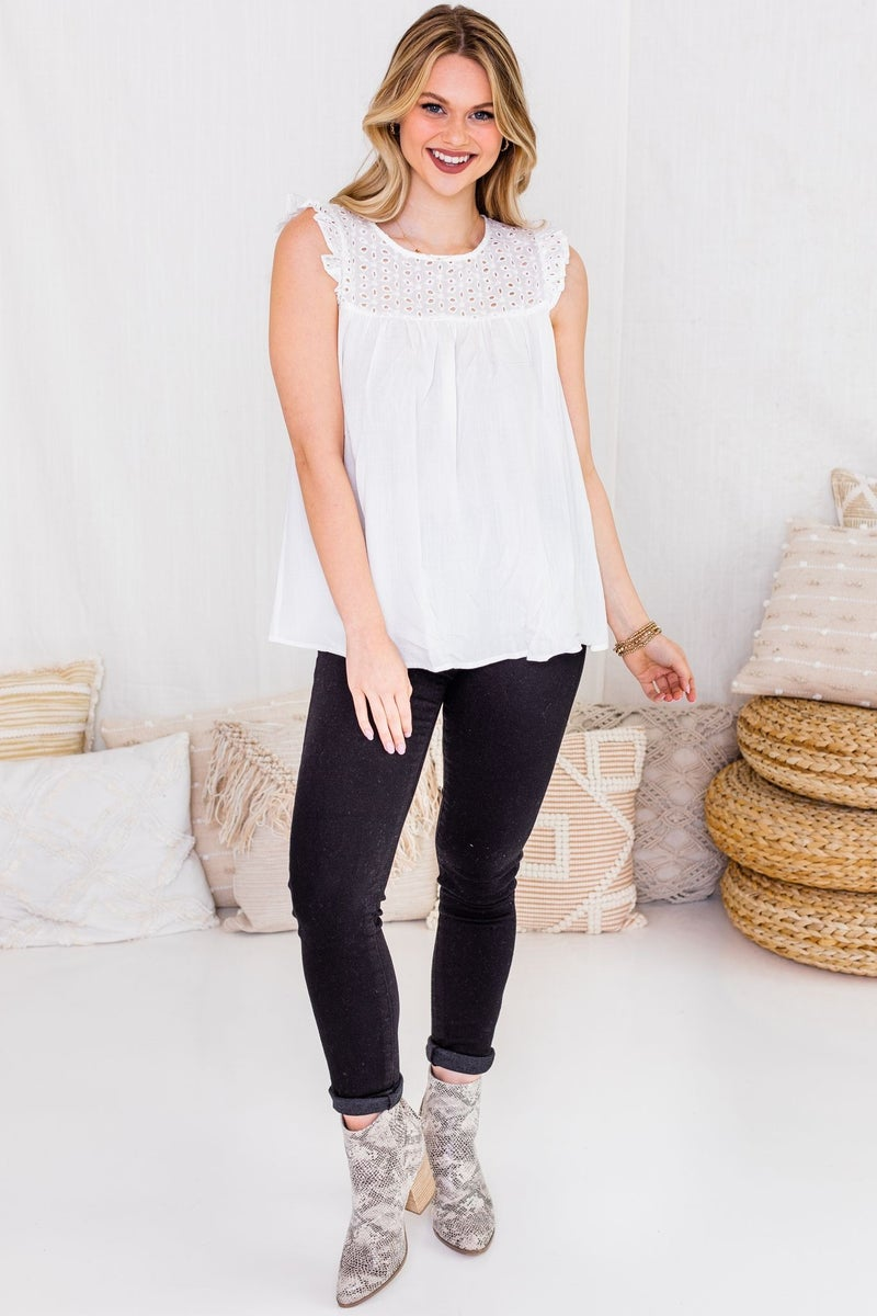 Eyelet On You Top