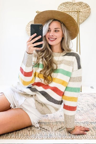 Stay Calm Striped Sweater