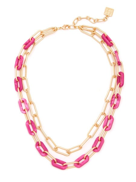 SIENNA Necklace (Matte Gold and Hot Pink)