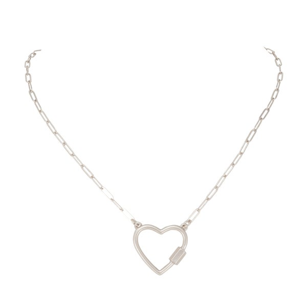 CAROLINE Open Heart Necklace (Matte Silver)