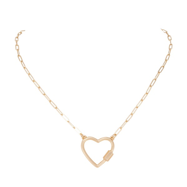 CAROLINE  Open Heart Necklace (Matte Gold)