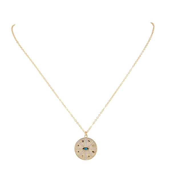 ESMERALDA  Medallion Necklace (18K Gold Plated with Turquoise & Pave Crystals)