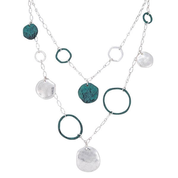 CONNECT Necklace + Earring Set (Silver & Copper Patina)