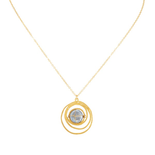 ENCIRCLED Necklace (18K Gold Plated with Grey Pearl )