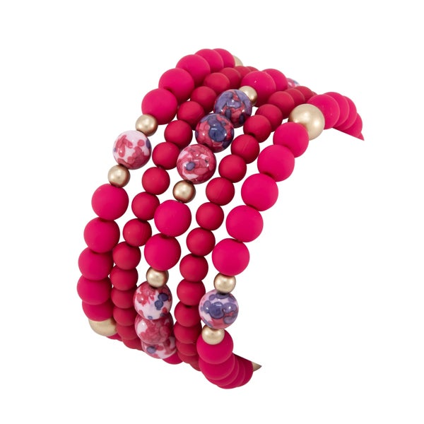 BRIANNA Bracelet (Stretch, Hot Pink)