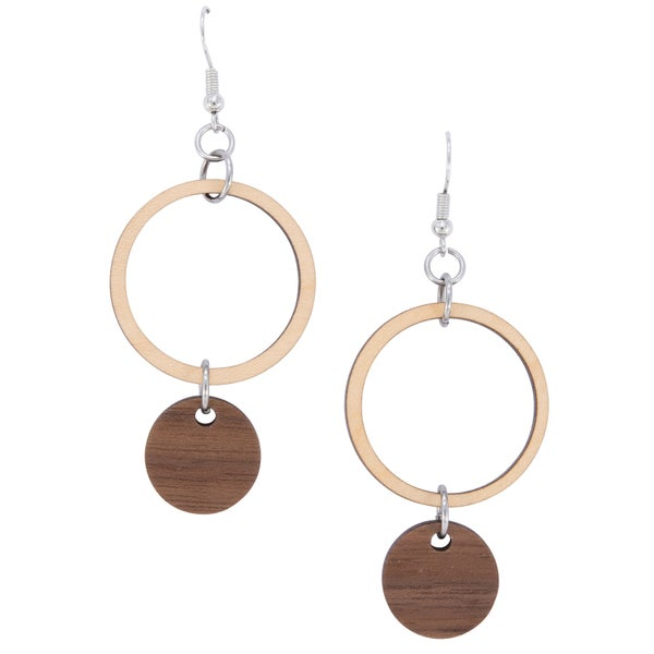 EVERLY Wood Drop Earrings (Walnut and Maple)