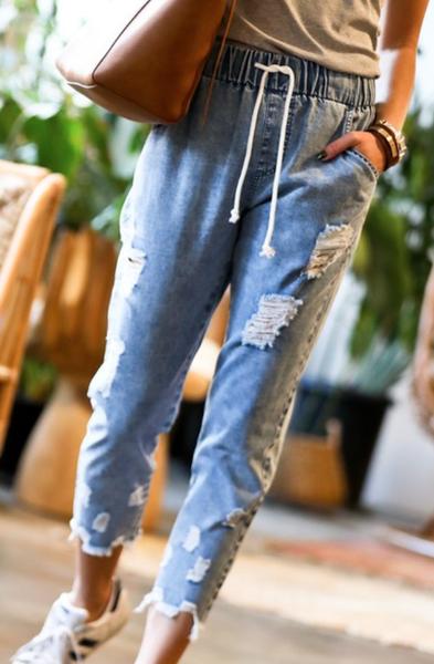 Elastic Waist Drawstring Denim Pants- Denim Blue