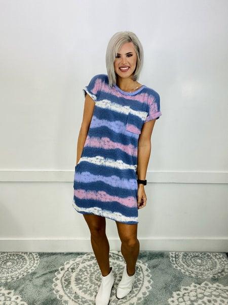 Tie Dye Stripe Dress- BLUE