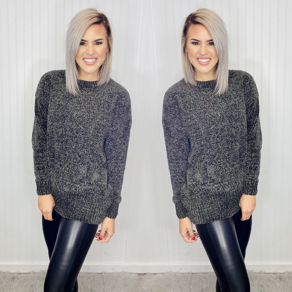 ROUND NECK LONG SLEEVE CHENILLE SWEATER- Ash Gray