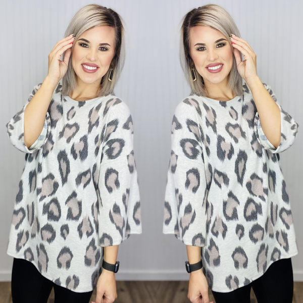 3/4 RELAXED FIT ANIMAL PRINT TUNIC- Ivory/Cheetah