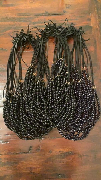 MBN necklace- Double layer bead/leather BLACK