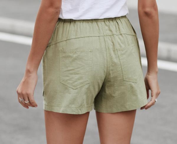 Faylin Linen Shorts- Olive