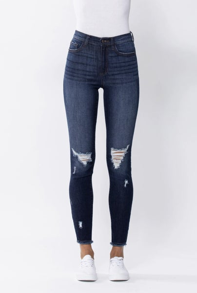 HIGH RISE SKINNY WITH KNEE DESTRUCTION AND FRAY HEM