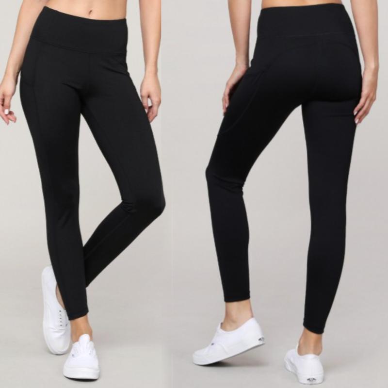 Active High Waist Tech Pocket Workout Leggings- BLACK