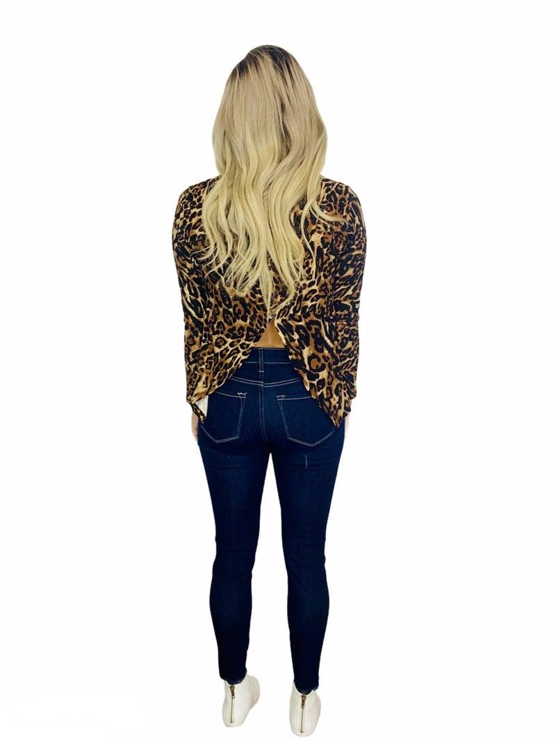 Women's Long Sleeve Leopard Print Surplice Shirt-Brwn