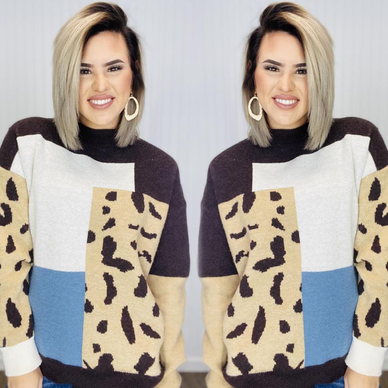 Square Color-block Leopard Sweater- Latte/L.Blue/ Leopard