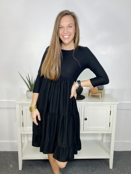 Swiss dotted tiered dress- Black