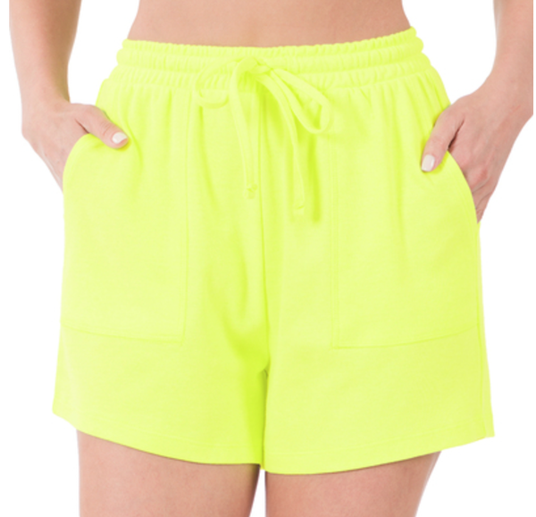 COTTON DRAWSTRING WAIST SHORTS WITH POCKETS- NEON LIME