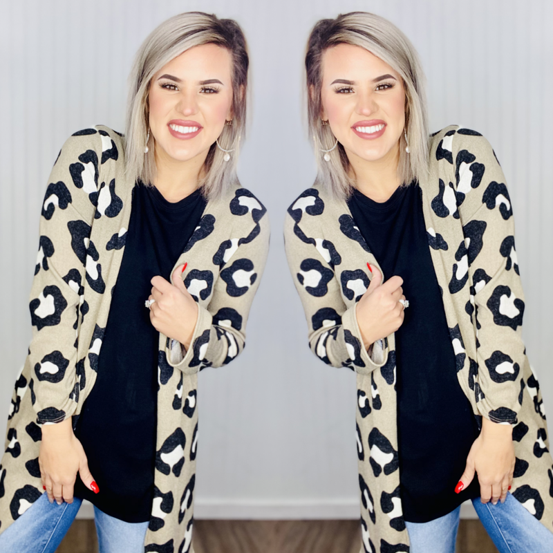 Leopard Open Front Cardigan- Taupe