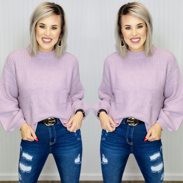 MOCK NECK SWEATER WITH TWO TEXTURES-Mauve
