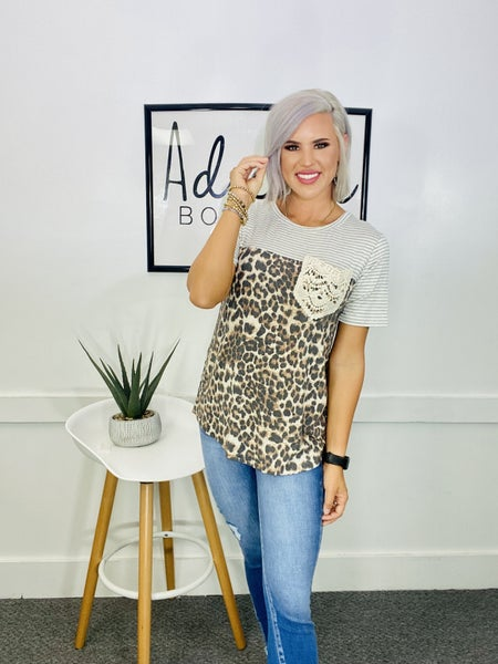 STRIPE AND ANIMAL TOP WITH LACE POCKET- Stripe/Leopard