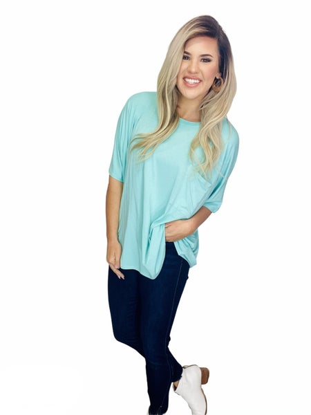 LUXE RAYON ROUND NECK FRONT POCKET TOP- Mint